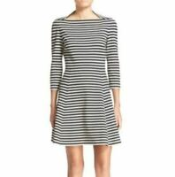Kate Spade Broome Street Size M Black White Striped with Pockets Dress