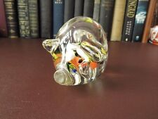 Vintage Glass Pig Paperweight - Paperweights - Pig Figurines