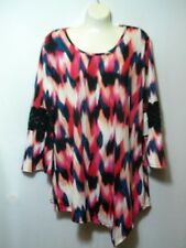 New Notations Women's Clothing Size XL Blouse Pink White Black Casual Top Work