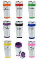 Personalized Insulated Stainless Steel Travel Mug Black Red Green Pink Purple