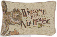 "DECORATIVE PILLOWS - ""WELCOME TO THE NUT HOUSE"" THROW PILLOW - SQUIRREL PILLOW"