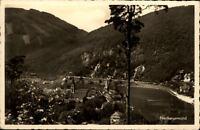 Neckargemünd alte Postkarte 1938 gelaufen Blick auf den Neckar Teilansicht Wald