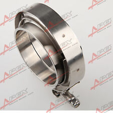 "2.75"" V-Band Vband Clamp CNC Stainless Steel Flange Flanges Kit Turbo Downpipe"