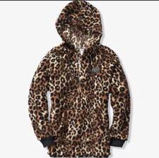 Victorias Secret PINK Cheetah Leopard Sherpa Hoodie Jacket Half Zip Up Sz. Large