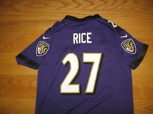 BALTIMORE RAVENS RAY RICE NEW JERSEY BY NFL NIKE ON FIELD SIZE BOY'S MEDIUM