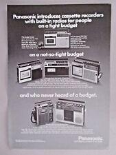 Panasonic Portable Cassette Recorder PRINT AD - 1975 ~~