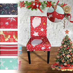 1/4/6pcs Dining Chair Seat Covers Slip Stretch Christmas Banquet Party Removable