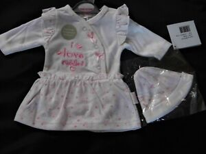 PREMATURE BABY GIRL DRESS OUTFIT WITH INTERGRATED BODYSUIT SUIT AND BEANIE HAT