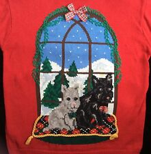 Ugly Christmas Sweater Woof! Holiday Scotties Dogs Women's M
