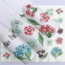 Nail Art Water Decals Transfers Stickers Spring Summer Flowers Floral Fern 3071