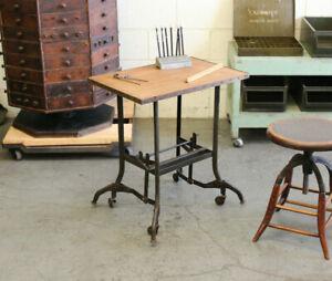 Vtg Industrial Uhl Toledo Rolling Typewriter Table Laptop Desk Chair Hamilton