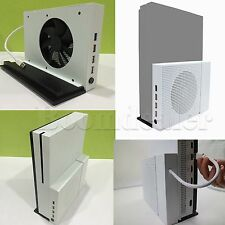 White Xbox One S Vertical Stand Cooling Fan 4 Ports USB Hub Xbox One Game #HAU