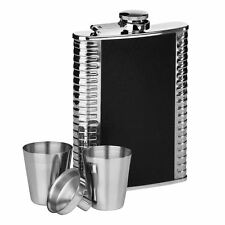 Hip Flask Set, Ribbed Stainless/Black Leather Effect, 8oz Flask/2 Cups/Funnel