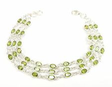 PERIDOT GEMSTONE 1925 STERLING SILVER BRACELET GOLDSMITHS HALLMARKED OVAL CUT 6g