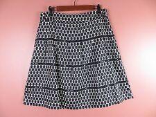 SK09365- ANN TAYLOR LOFT Woman 100% Cotton A-Line Skirt Sequined Black White 12