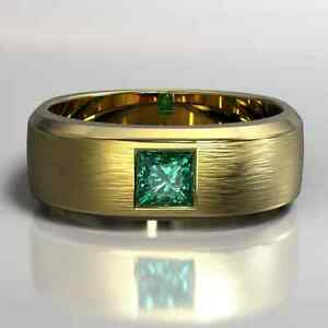 14K Yellow Gold Over Solitaire Men's Engagement & Wedding Ring 1.48 Ct Emerald