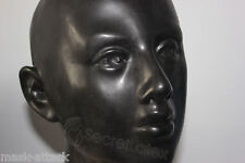 BLACK LATEX RUBBER HOOD FULL HEAD FACE COSPLAY FETISH DRESS WOMAN FEMALE MASK