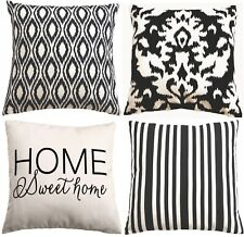 Black/Natural Decorative Throw Pillow Cover 18x18 Set of 4 *STOCK IN US*