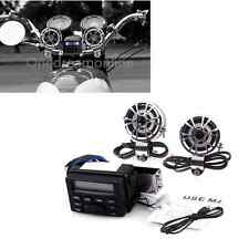 Motorcycle Audio FM MP3 iPod Radio Sound System Stereo w/ 2 Handlebar Speakers