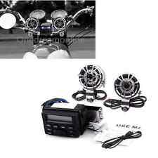 Motorcycle Audio FM MP3 iPod Radio Sound System Stereo w/ 2 Handlebar Speakers