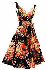 "Estilo Retro 1940s 1950s Negro Floral ""English Rose"" Swing Vestido De Té UK 16"