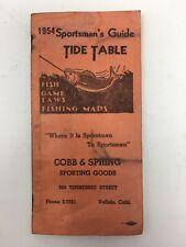 1954 Sportsman's Guide Tide Table Vallejo California Fishing Maps Cobb & Spring