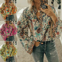Women Boho Lantern Long Sleeve Loose Tops Ladies Hippie Gypsy Tunic Blouse Shirt