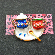 Enamel Exquisite Coffee Cup Charm Woman's Brooch Pin Gift