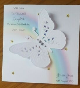 HANDMADE PERSONALISED BIRTHDAY IN HEAVEN  CARD,RAINBOW & WHITEWORK BUTTERFLY