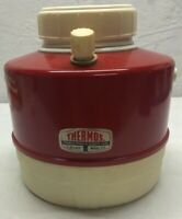 Vintage THERMOS Red White Metal 1 Gallon Thermos Deluxe Model Cooler Jug Water
