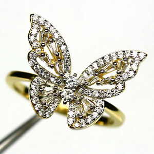 AAA WHITE CUBIC ZIRCONIA BUTTERFLY RING 925 STERLING SILVER SIZE 8