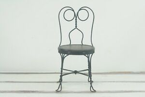 Vintage/Antique Black Childs Ice Cream Chair Antique Old Stool Parlor Soda #2
