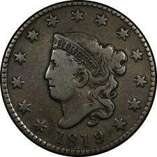 1819/8 1c Coronet Head Large Cent Pcgs F15 rare old type coin penny overdate