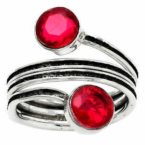 Ruby Simulated 925 Sterling Silver Ring s.7 Jewelry E069