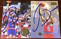 Joe Dumars Detroit Pistons NBA HOFer guard auto autograph 2 basketball card LOT