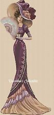 Elegant Lady in Burgundy Dress Full Length  Counted Cross Stitch Chart #1-156h