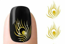 Peacock Feather nail Wraps Water Transfers Stickers Decals Nail Art Sliver Gold