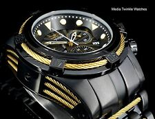 Invicta 52MM Bolt ZEUS Swiss Quartz All Black w/Gold Tone Cables Bracelet Watch