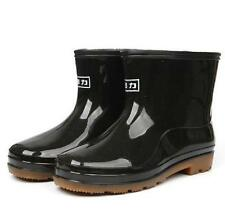 Fashion Mens Waterproof Leisure Pull on Rain Outdoor Black Rubber Ankle Boots