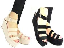 Zapatos de tacón de mujer plataformas de ante sintético
