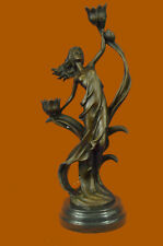 Handcrafted Wood Nymph Bronze Candleholder Sculpture Hot Cast Marble Base Figure
