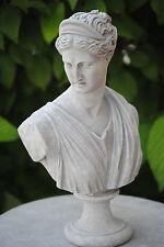 Schöne Dame Büste Frau Figur Skulptur  Shabby-Style Steingrau TOP 4 Garten Deko