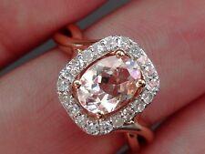 NEW 0.8ct Morganite & 1/4ct Diamond Swirl Halo Ring Pink 14K Rose Gold Size 6