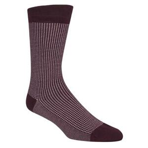 Cole Haan Mens Red Knit Check Dress Crew Socks 7-12 BHFO 5569