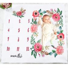 CN_ 100cm x 100cm Newborn Baby Flower Monthly Blanket Rug Photography Mat Stri