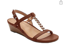Vionic Women Cali T Strap Leather Gold Hardware Wedge Sandals Rust Sz 10W NIB
