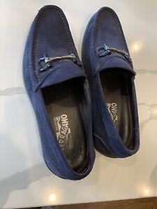 Men's SALVATORE FERRAGAMO Memphis Blue Marin Suede Loafers Size US 8.5 D