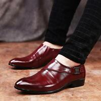 Chic Mens Pointy Toe Business Wedding Formal Dress Slip On Leather Pumps Shoes