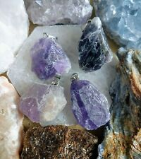 Amethyst raw stone necklace crystal healing
