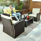 Yitahome 4pcs Outdoor Conversation Set Patio Rattan Wicker Sofa Garden Furniture
